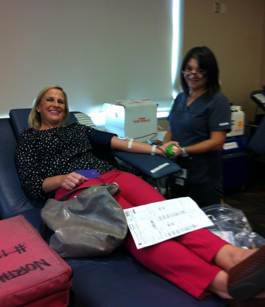 Kristi donates her ORANGE blood