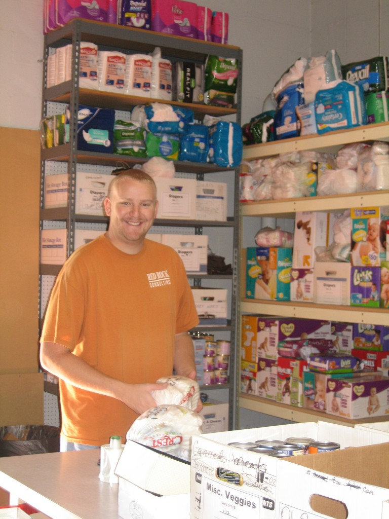 Jason Unruh, RRC employee, sorts diapers